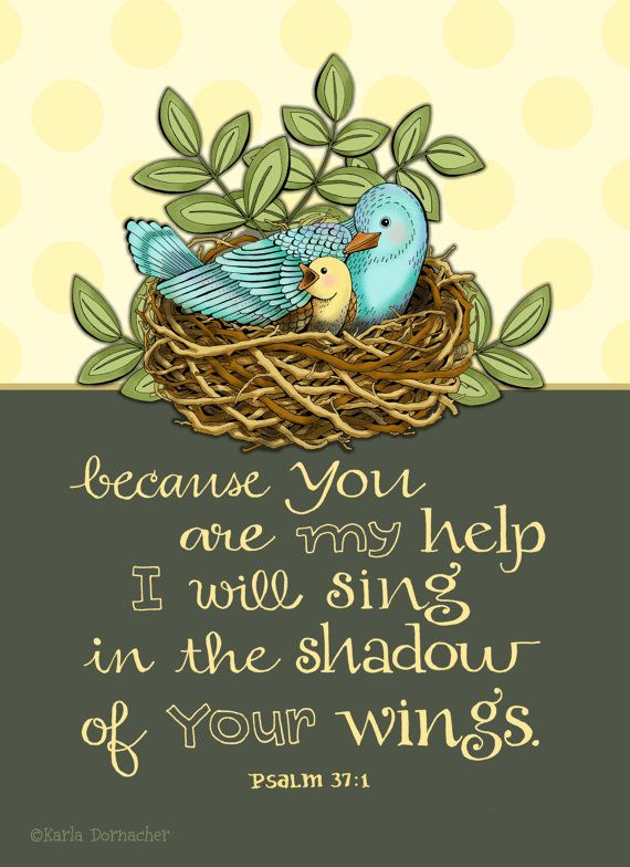 Shadow of His Wings Psalm 37 Scripture by karladornacher on Etsy,