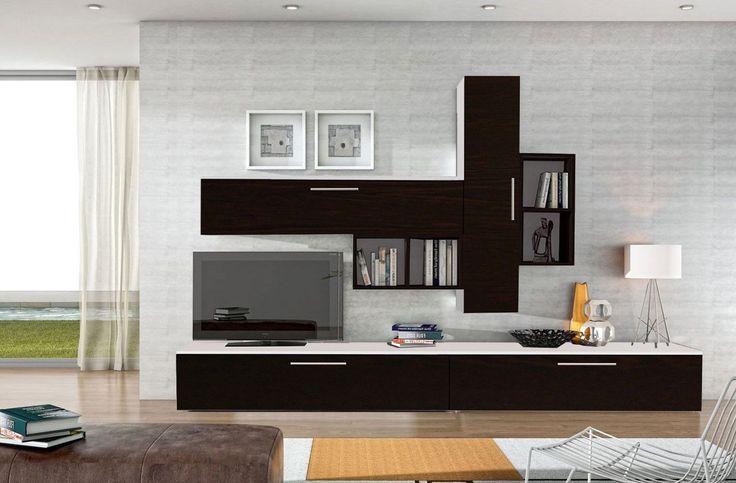 Set mobila living modern alb negru 6 corpuri din pal, living moderna
