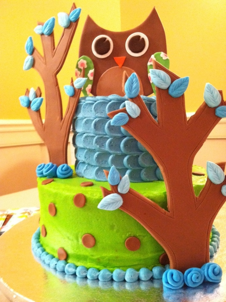 Owl baby shower cake - Blue and green with owl and trees made from ...