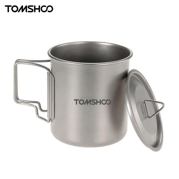 TOMSHOO 420 ml Titan Topf Wasser Becher Camping Picknick Wasser Tasse Becher Hitzebeständig mit Tasche Camping Geschirr Werkzeug mit Abdeckung