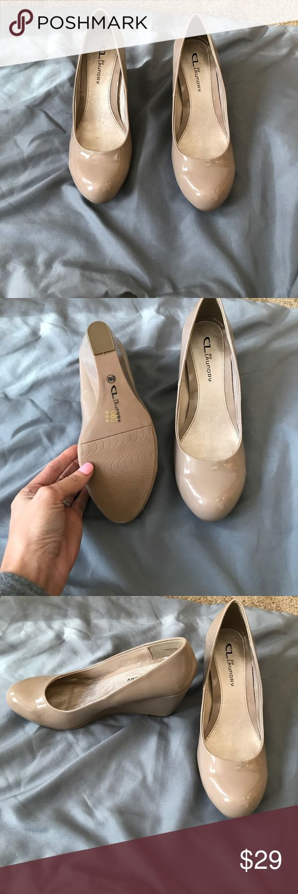 Chinese Laundry nude patent wedges Chinese Laundry nude patent leather wedges. Size 8.5. Never worn. Chinese Laundry Shoes Wedges
