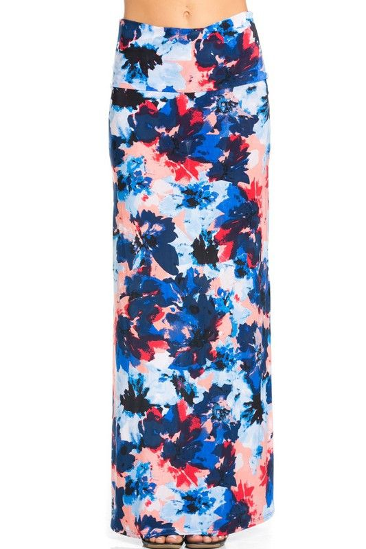 Printed Long Maxi Skirt for Women Stretch Foldover High Waisted Maxi Skirts