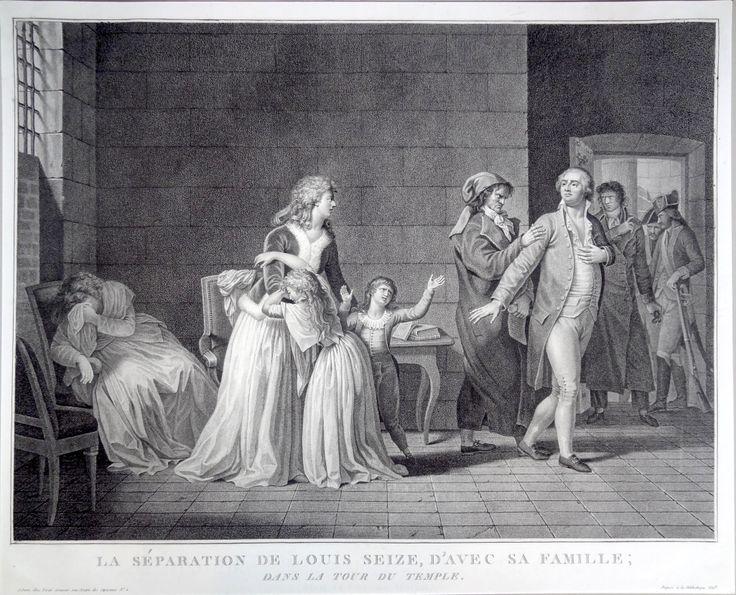 """""""La séparation de Louis Seize d'avec sa famille; dans la Tour du Temple."""" gravé en 1794 par Jean-Baptiste Vérité d'après Pierre Bouillon"""