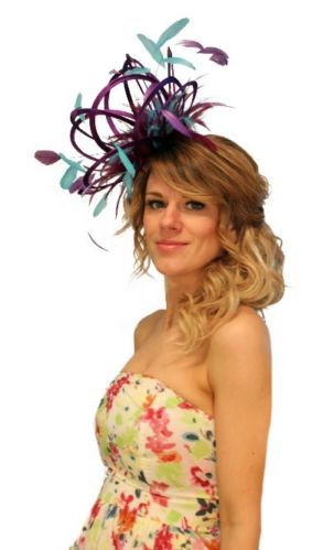 Purple-Turquoise-Blue-Feather-Fascinator-Hat-Choose-any-colour-Satin-Feather