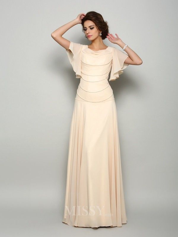 A-Line/Princess Short Sleeves Square Chiffon Floor-Length Mother Of The Bride Dress With Ruffles Beading