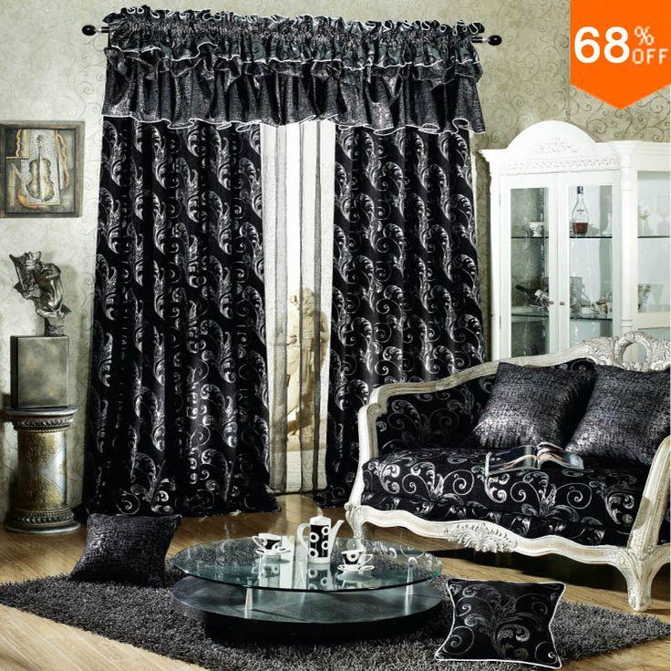 Черный роскошный Род Стик Повесить стиле Гостиной шторы для Ресторана Темно-Серый и Серебристый цвет Затемнения цвет Черный Занавес
