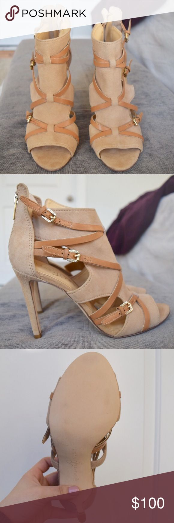 🆕 Ivanka Trump Strap Heels Gorgeous strapped nude heels. Material is suede. Three buckles on the outter foot. Zip up back for easy on and off. Extremely comfortable. No tags are included, but never worn and in brand new condition. Ivanka Trump Shoes Heels