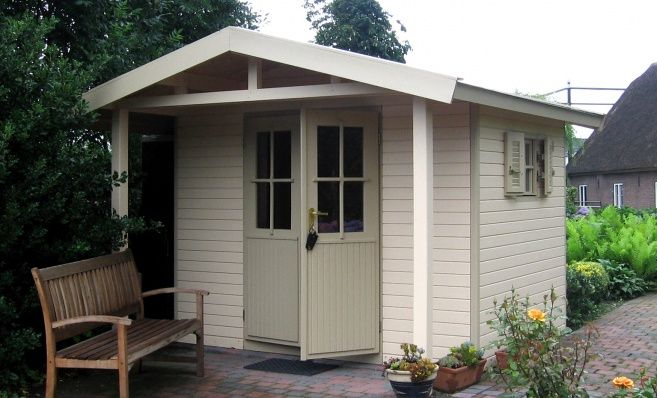 Pioneer Shed, painted, canopy and available in a variety of sizes