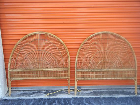 Pair Of Vintage Bohemian Wicker Twin Headboards by RevosRetro