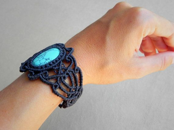 macrame cuff bracelet turquoise bohemian jewelry by QuetzArt
