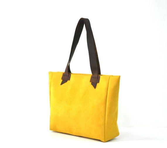 yellow handbag yellow tote bag every day bag student bag