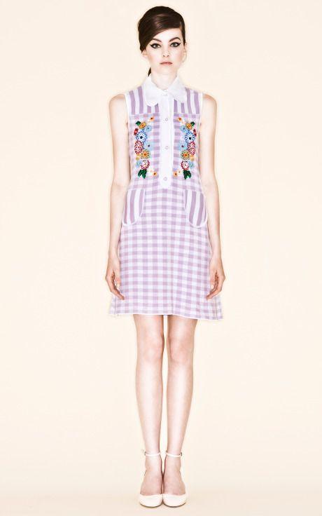 Shop Lilac Picci Gingham Check Dress by Vivetta for Preorder on Moda Operandi