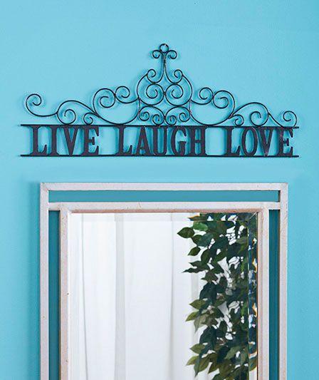 Inspirational Metal Scroll Live Love Laugh Photons Over Doorway Decor
