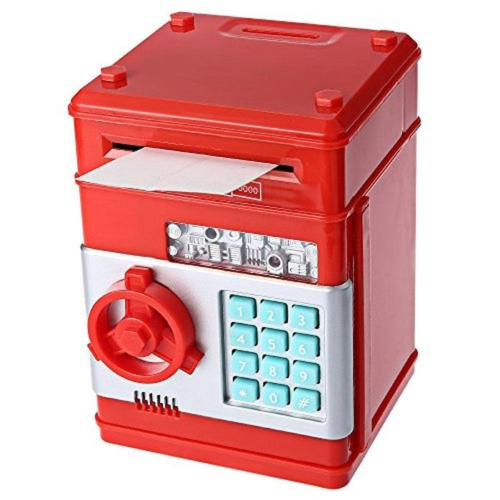 Kidstime Mini ATM Coin Cash Saving Box, Code Password Electronic Money Bank for Kids,Toys Gifts,Red