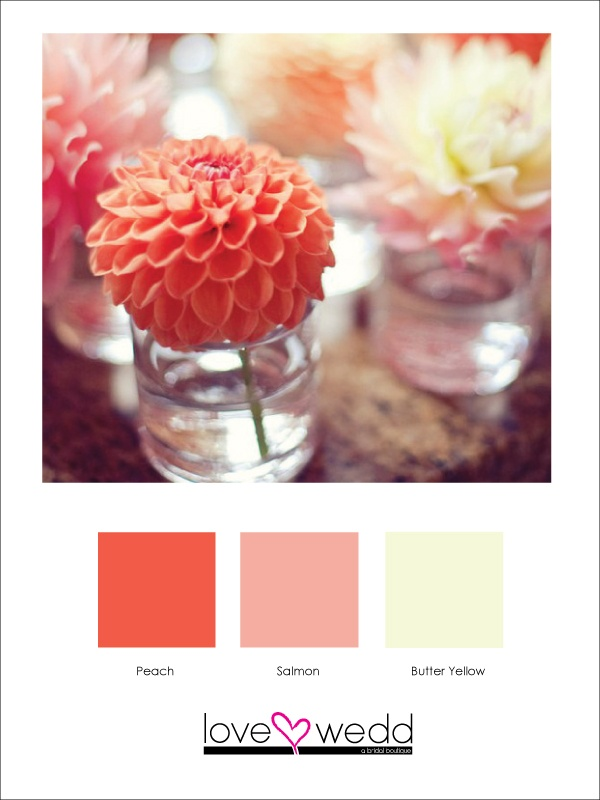 Peach, pink and yellow  color palette