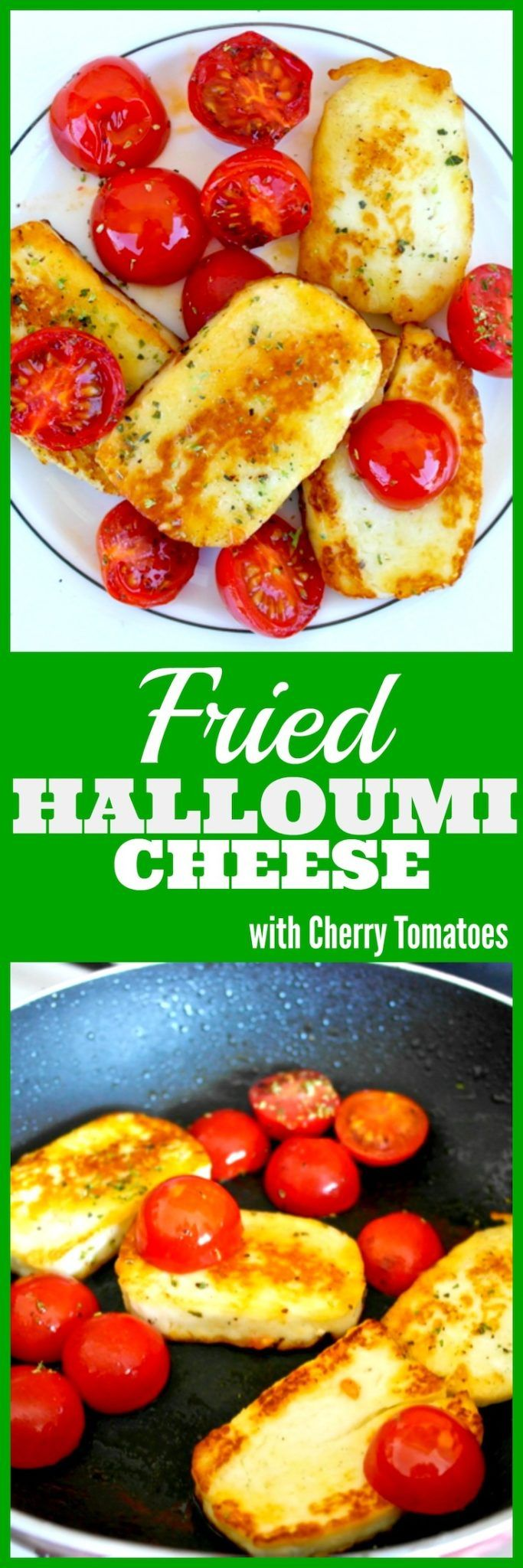 Fried Halloumi Cheese with Cherry Tomatoes | Olive Tomato This cheesy mediterranean appetizer is ready in 5 minutes olivetomato.com #cheese