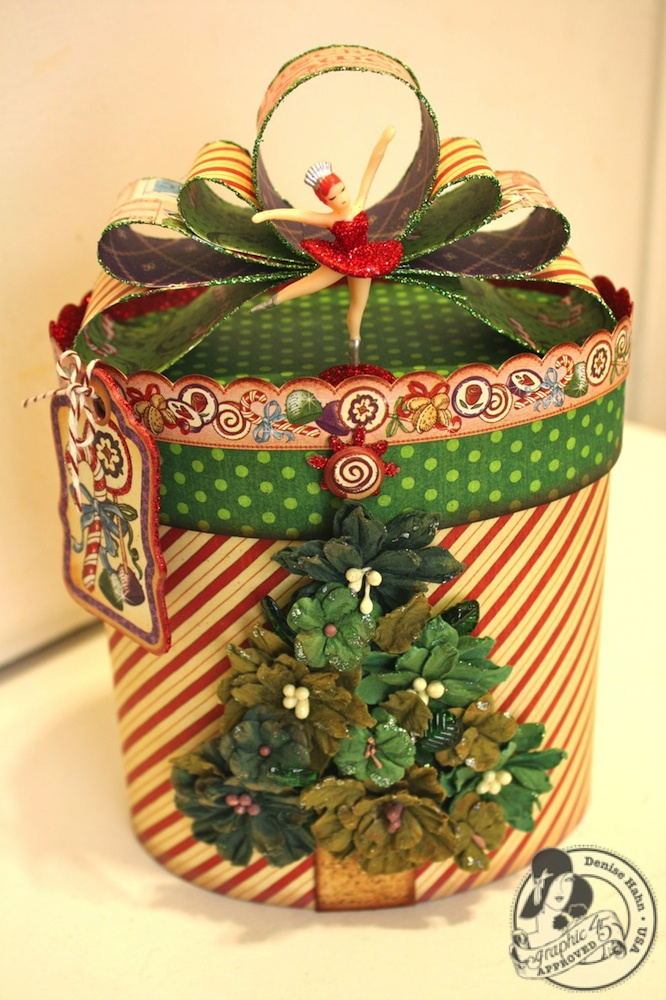 Isn't this Nutcracker Sweet altered box adorable? Love how @Denise Hahn used @Petaloo International flowers to make the Christmas tree and Nutcracker Sweet to make the bow! How wonderful! #graphic45 #petaloo