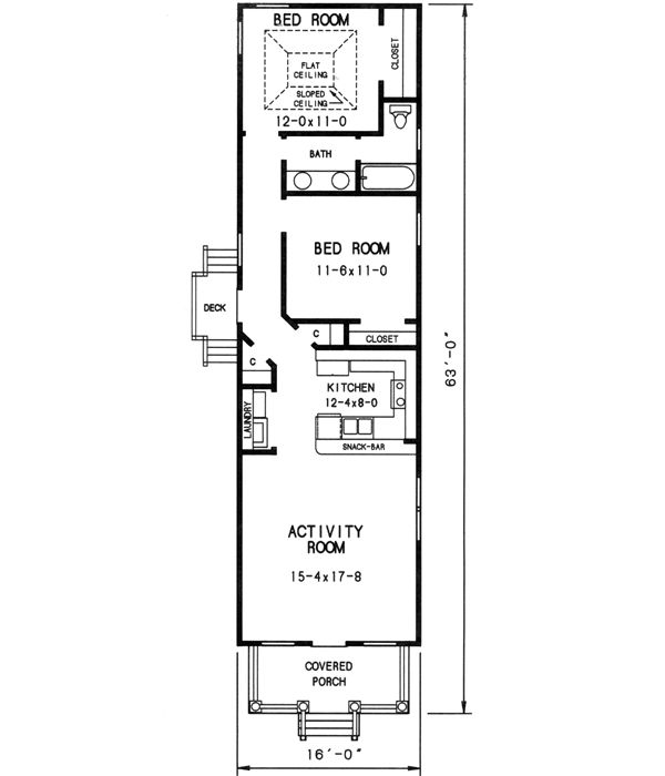 Block Home Designs Narrow: 912 Square Foot Home, 1 Story