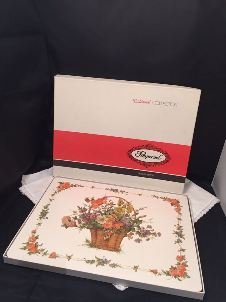Vintage Pimpernel Traditional Placemats Flower Basket Dinner Size In Original Box by missenpieces on Etsy
