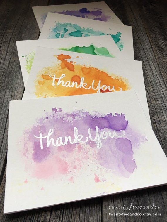 Set Of 5 Watercolor Thank You Cards Handmade Thank You Cards
