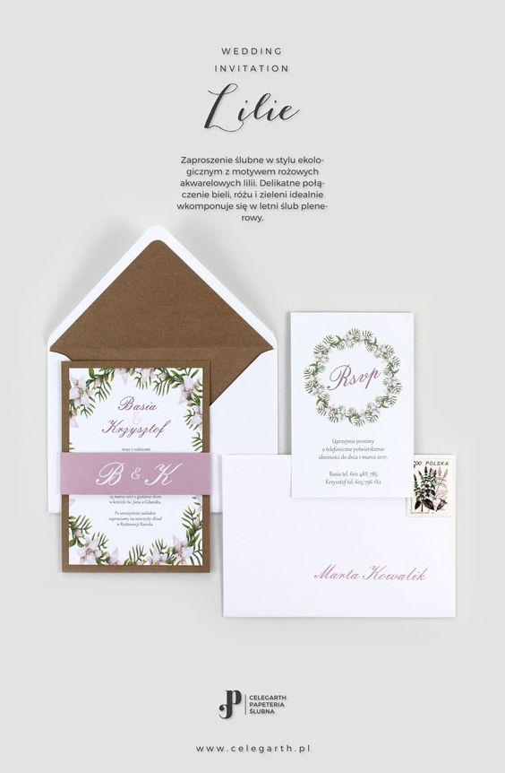 Rustykalne zaproszenie ślubne Lilie | Pracownia Celegarth #zaproszeniaslubne #zaproszenianaslub #zaproszenia #rustykalnezaproszenia  #motywnaslub #pomyslnazaproszenia #eko #lilie #wesele #slub #pomyslnaslub #celegarth #weddinginvitation #weddingstationery #weddingdesign #rustic #botanicalinvitation