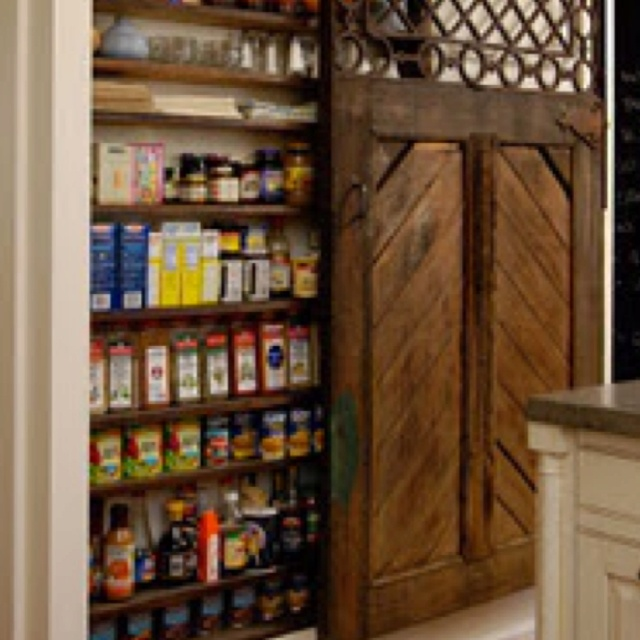 Sliding barn door pantry home pinterest for Sliding pantry doors