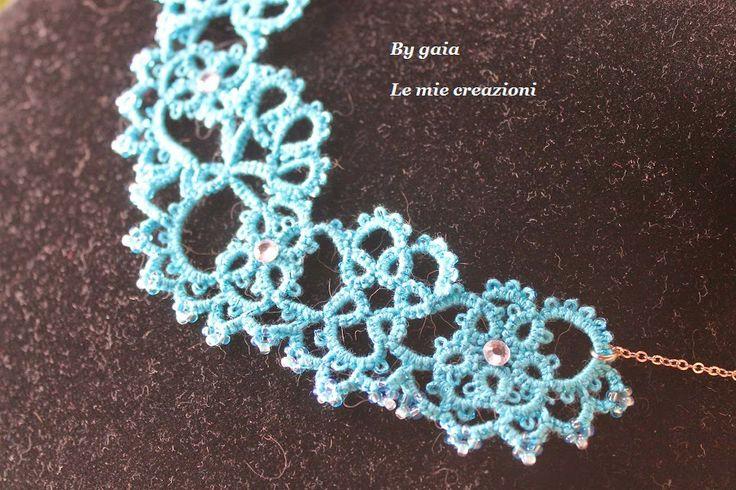 Le mie creazioni: Collana in pizzo chiacchierino azzurro mare