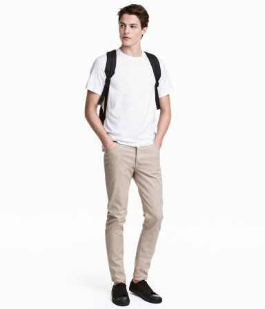 Twill Pants Slim fit:  Light beige. 5-pocket pants in stretch cotton twill with a regular waist, button fly, and slim legs.
