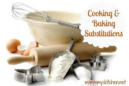 Cooking & Baking Substitutions & {Food Tips} also a Printable Version.  http://www.mommyskitchen.net/2008/05/emergency-cooking-substitutions.html