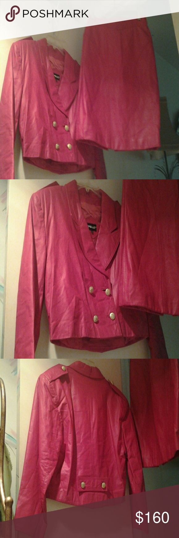 Pelle Pelle Red Leather Jacket & Skirt 100% Genuine Leather, gold tone double breast buttons, high waist jacket, size M, matching leather back zip skirt size 8 (no missing buttons, should be tightened) Made in Korea Pelle Pelle Jackets & Coats Blazers