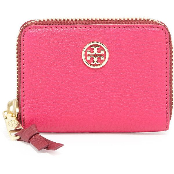 Tory Burch Robinson Pebbled Zip Coin Case ($95) ❤ liked on Polyvore featuring bags, wallets, zippered coin pouch, zip coin pouch, zip around wallet, zip wallet and tory burch wallet