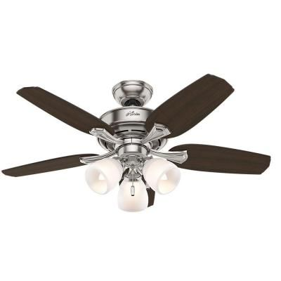 Hunter Channing 44 in. Indoor Brushed Nickel Ceiling Fan - 51095 - The Home Depot