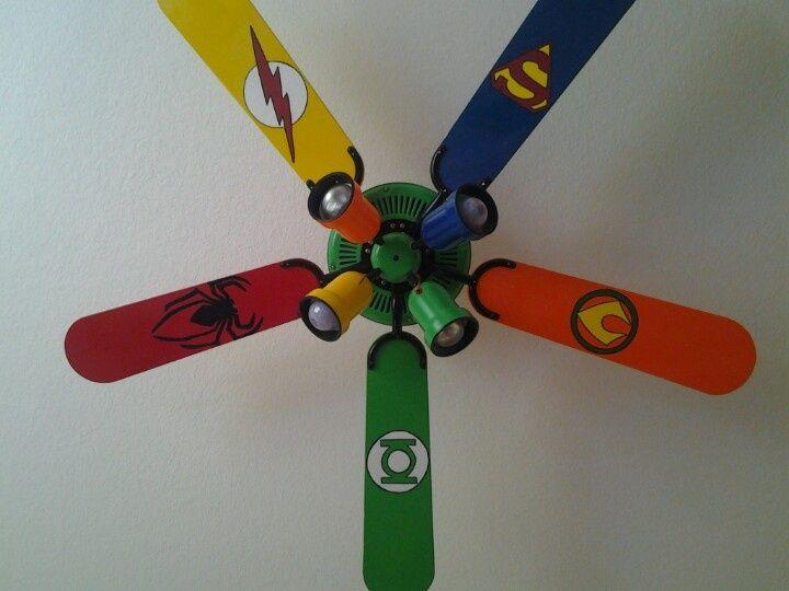 25 parasta ideaa pinterestiss painted ceiling fans painted ceiling fan blades super hero room ideas via nicole wells maugeri aloadofball Images