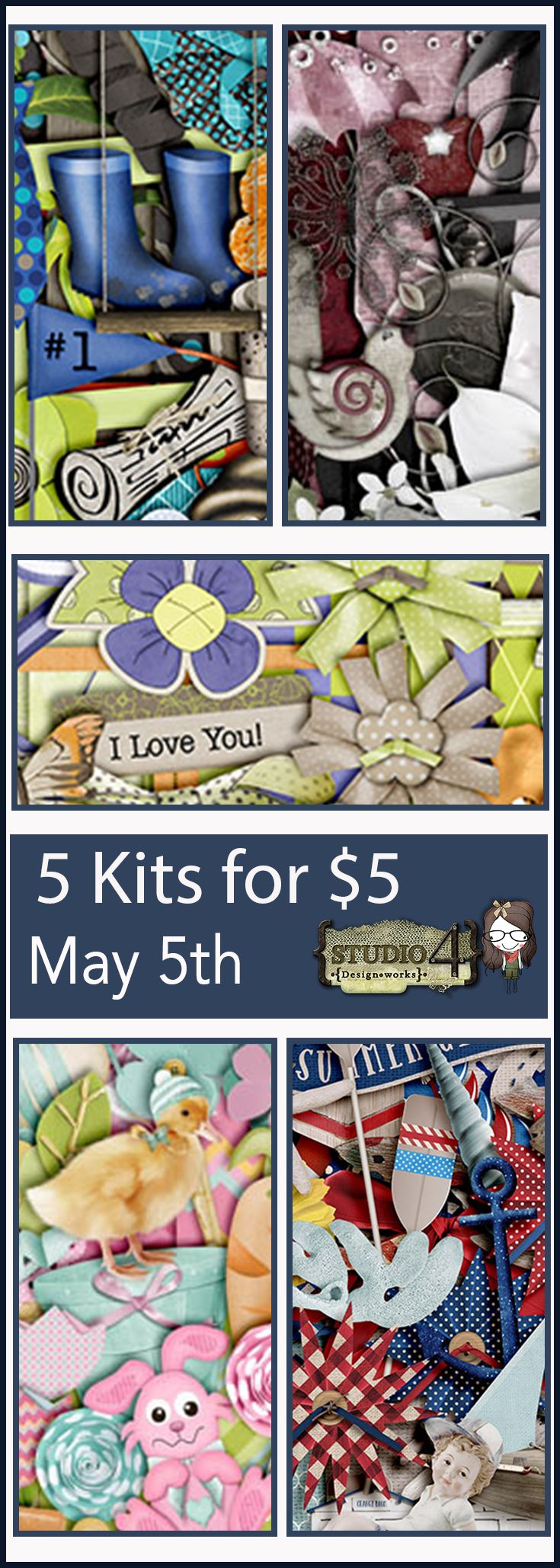 5 Kits for $5 today only in celebration of NSD. Fun scrapbooking kits at a fantastic price by Studio4 Designworks