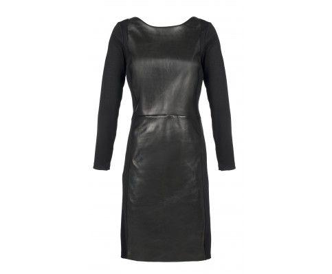 Dressfactor F-lijn zwarte leren jurk met wol