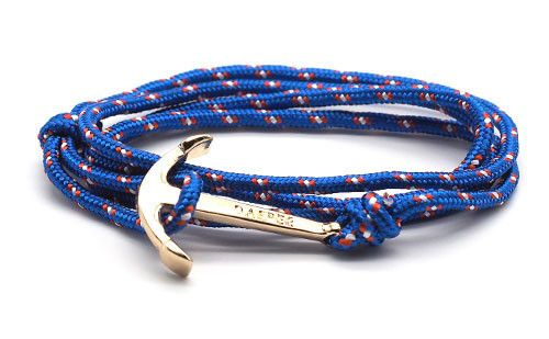 The Art Royal Blue Gold Anchor & Rope Bracelet