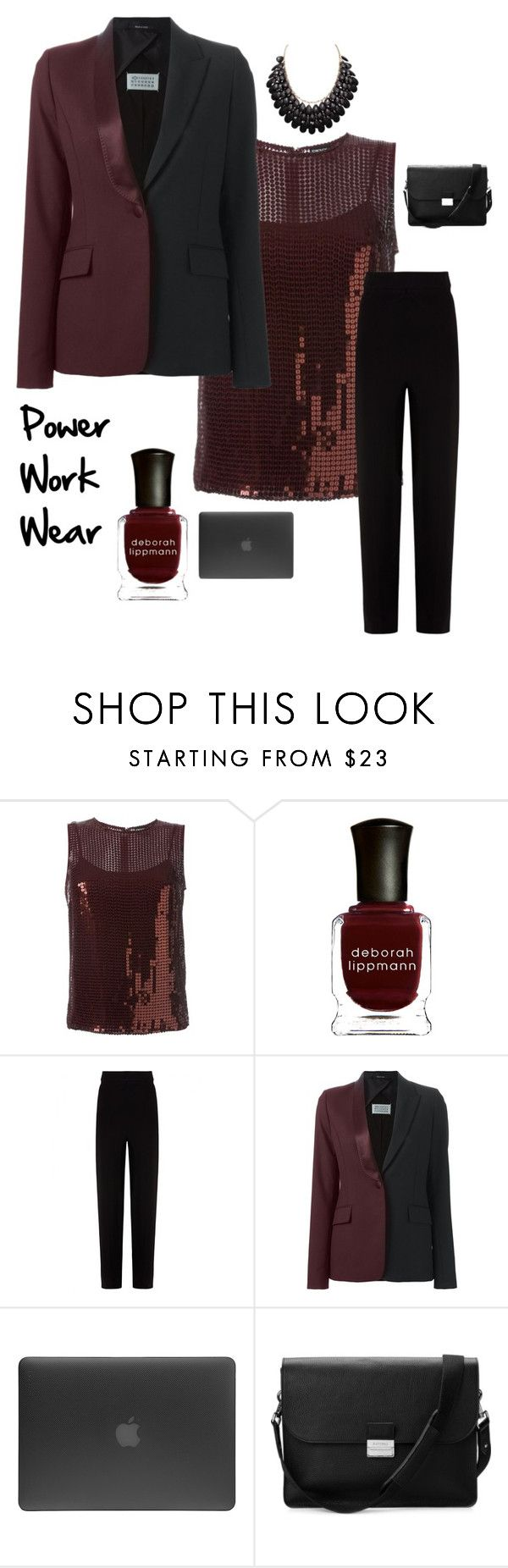 """power work wear"" by im-karla-with-a-k ❤ liked on Polyvore featuring DKNY, Deborah Lippmann, Balenciaga, Maison Margiela, Incase and Aspinal of London"