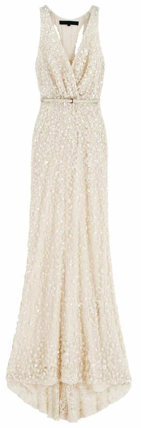 Wedding dress ideas inspiration: Elie Saab white ivory cream sequin beaded evening wedding dress gown with belt & plunging neck