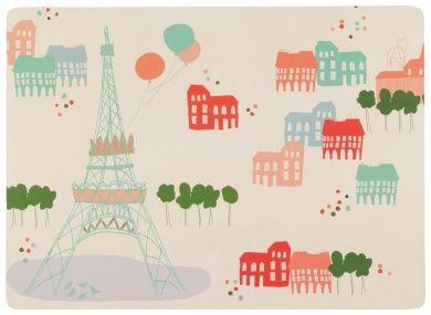 Now Designs Cork Backed Placemats, Bonjour Paris, Set of 4