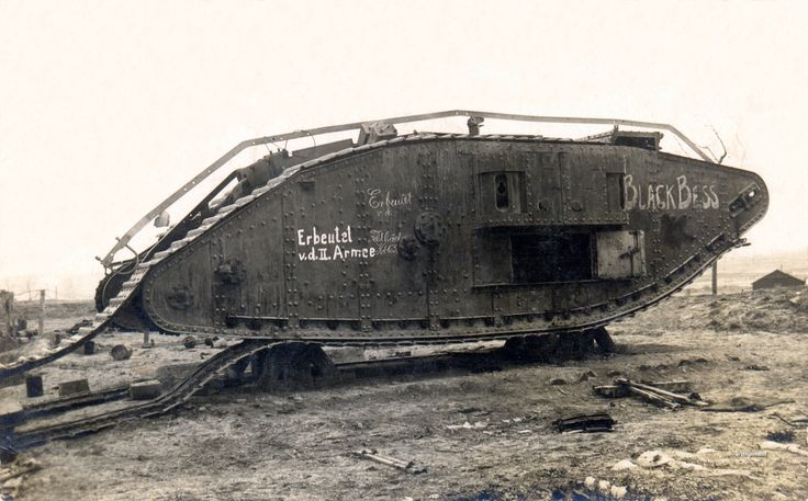 """""""Black Bess"""" commanded by 2/Lt. E.R. Jones, lost at Cambrai 20th November 1917 Nothing on reverse. """"Black Bess"""", a British female Mk IV lost at Cambrai on the 20th of November 1917, later recovered by the Germans and either pressed into service as a Beutepanzer or cannibalized for spare parts."""