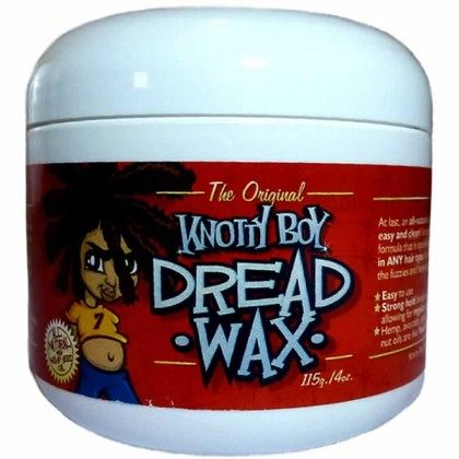 Knotty Boy Dread Wax is an all-natural Beeswax/Hemp Seed Oil pomade specifically designed for starting and maintaining dreadlocks in ANY hair type. It's a great conditioner for already-formed locks, works miracles on dry, damaged dreads and best of all, binds soft, new locks together allowing you to wash your hair and scalp like normal. #knottyboy #dreadwax #beautycoliseum