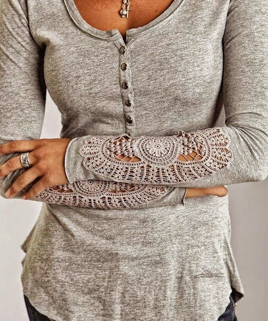 Gray Crochet Detailed Sleeve Top