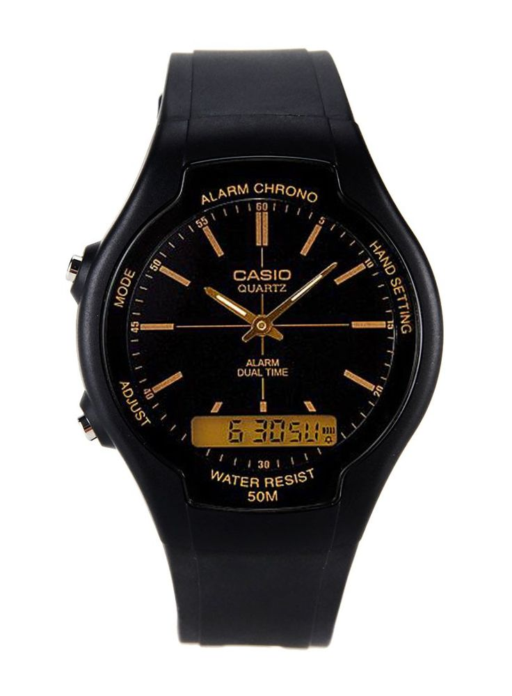 Black AW 90H 9EVDF by CASIO. Analog watch made from resin glass and band, with black color and a touch of a golden color, buckle fastening, it has a stopwatch feature, water resistant, day and date display, daily alarm, auto calender. %0A%0A http://www.zocko.com/z/JG0kz