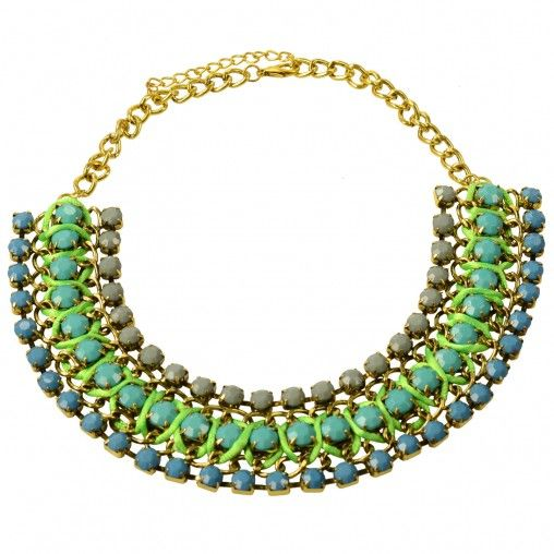 SACHA // Statement necklace green/blue €17,95 #sachashoes #gems #bold