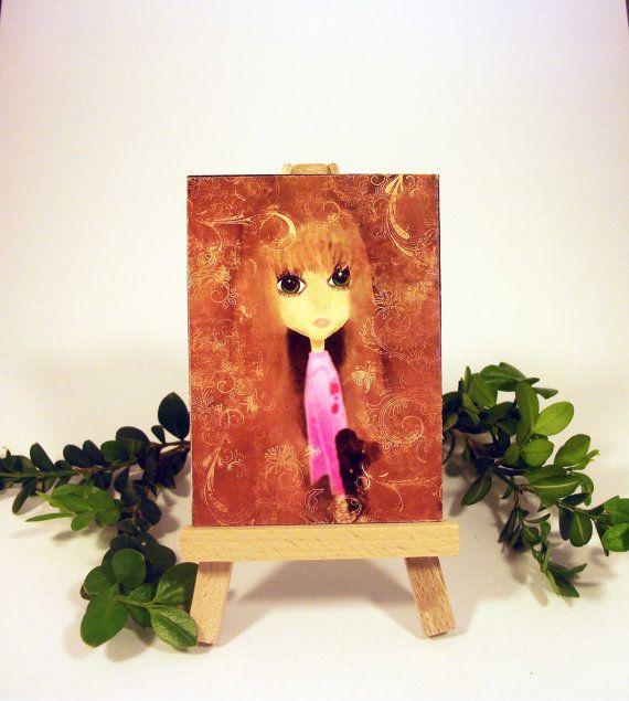 Big Eyed Girl ACEO Original Art Mini Canvas Board Gift Idea Matilda $5.00