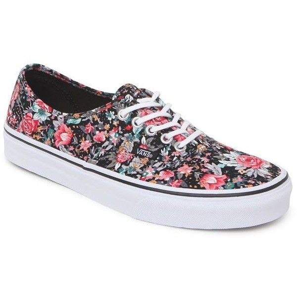 Vans Authentic Black Multi Floral Sneakers (165 BRL) ❤ liked on Polyvore featuring shoes, sneakers, vans, zapatos, sapatos, lace up sneakers, black lace up shoes, floral shoes, flower print sneakers and black floral shoes