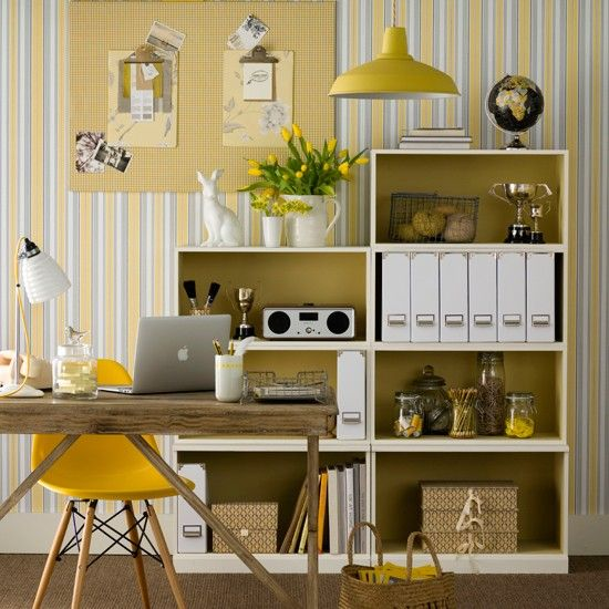 Neutral Home Office With Yellow Accents Inside Art Studio