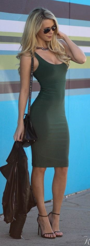 Army Green Body-con Little Dress
