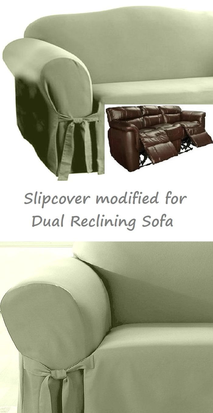 Dual Reclining Sofa Slipcover Cotton Sage Green Sure Fit Couch