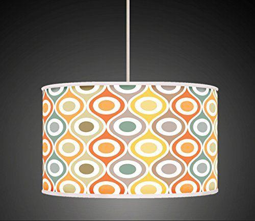 30cm Mustard Grey Orange Retro Geometric Handmade Giclee Style Printed Fabric Lamp Drum Lampshade Floor or Ceiling Pendant Light Shade 560